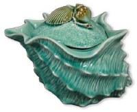 "9"" Blue Shell Ceramic Jar"
