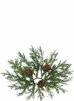"1.5"" Faux Green Arborvitae Candle Ring with Pinecones"