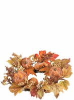 """6.5"""" Artificial Pumpkin Berry Artificial Foliage Candle Ring"""