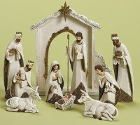 """12"""" Set of 10 Gold and Ivory Nativity Figurines with Backdrop"""