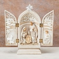 """9"""" Antique White Carved Holy Family Nativity"""
