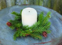 "3.75"" Faux Green White Spruce With Pinecones Candle Ring"