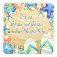"""4"""" Square Give Me the Sun & Sea Rubber Coaster"""