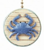 "2"" Blue Beach Crab Fan Pull"