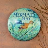 "12"" Round Blue Mermaid Bay Tin Metal Plaque"