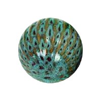 "4"" Blue Ribbed Ceramic Orb"