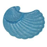"14"" Dark Aqua Nautilus Shell Ceramic Chip & Dip Plate"