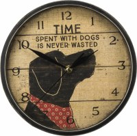 """10"""" Round Time With a Dog is Never Wasted Rustic Clock"""