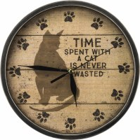 """10"""" Round Time With a Cat is Never Wasted Rustic Clock"""