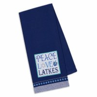 "28"" x 18"" Blue Embroidered Peace Love Latkes Kitchen Towel"