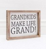 "7"" x 9"" White Grandkids Make Life Grand! Framed Wood Plaque"