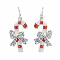 Red and White Glitter Gem Candy Cane Earrings