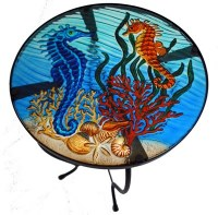 "24"" Multicolor Seahorses Fused Glass and Metal Table"