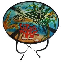 "24"" Multicolor Sea Turtle Fused Glass and Metal Table"