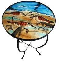 "24"" Multicolor Sandpiper Trio Fused Glass and Metal Table"