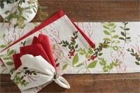 """60"""" Red & Green Winter Botanical Table Runner"""