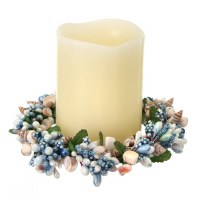 "4"" Blue Faux Berries and Shells Candle Ring"