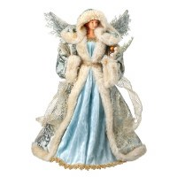 """17"""" Cream and Blue Christmas Tree Topping Angel Figurine"""