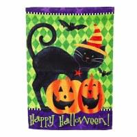 "18"" x 12"" Mini Black Cat Happy Halloween Suede Flag"