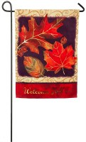 "18"" x 12"" Mini Orange Welcome Fall Leaves Flag"