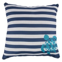 """18"""" Square Navy Blue & White Striped Turquoise Turtle Pillow"""