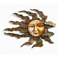 """32"""" Round Capiz Shell and Metal Smiling Sun Face Plaque"""