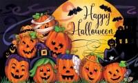 """18"""" x 30"""" Happy Halloween Pumpkins Doormat"""