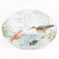 "9"" x 16"" Oval Melamine Shorebird and Lobster Platter"