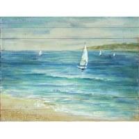 "36"" x 48"" Blue Sailboat Serenity Slat Wood Print"
