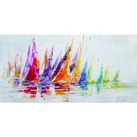 "28"" x 55"" Multicolor Textured Rainbow Afloat Canvas Print"