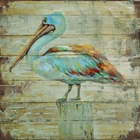 "28"" Square Rustic Multicolor Pelican on Piling Slat Wood Print"