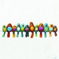 """20"""" Square Multicolor Birds on a Wire Canvas Print"""