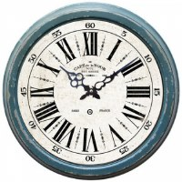 "16"" Round Rustic Distressed Blue Finish Clock"
