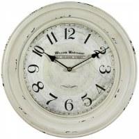 "16"" Round Rustic Distressed  White Finish Clock"