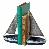 "12"" Blue and White Rustic Metal Sailboat Bookends"
