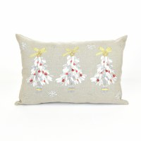 """12"""" x 18"""" Silver and Red Christmas Tree Pillow"""