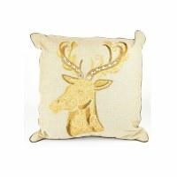 """18"""" Gold Beaded Christmas Reindeer Decorative Pillow"""