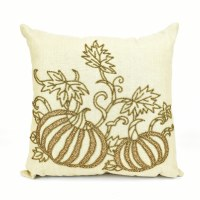 "18"" Square Gold Beaded Pumpkins on Beige Pillow"