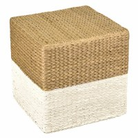 "16"" Square Natural and White Woven Ottoman"