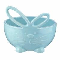 "6"" Round Blue Decorative Easter Bunny Ceramic Bowl"
