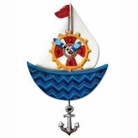 "14"" Blue Sailboat Nautical Pendulum Clock"