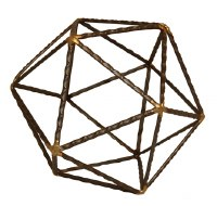 "8"" Brown and Gold Textured Metal Icosahedron Sculpture"