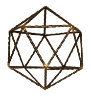 "6"" Brown and Gold Textured Metal Icosahedron Sculpture"