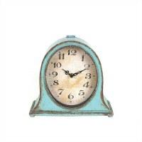 "9"" Rustic Distressed Aqua Finish Oval Mantel Clock"