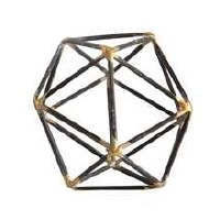 "4"" Black and Gold Open Wire Icosahedron Sculpture"