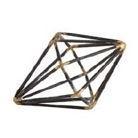 "4"" Black and Gold Open Wire Diamond Sculpture"