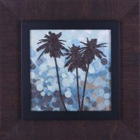 """20"""" Square Triple Palm Silhouette on Blue Print in Brown Frame"""