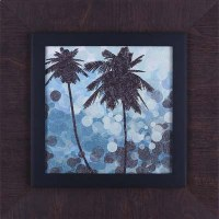 """20"""" Square Double Palm Silhouette on Blue Print in Brown Frame"""