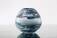"9"" Round Blue & White Glass Vase"