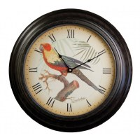 "18"" Round Red and Yellow Parrot and Palms Rustic Clock"